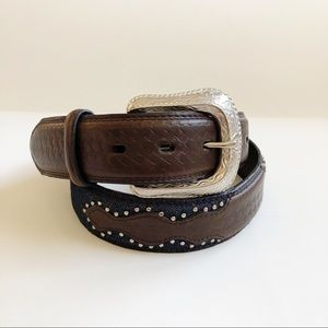 Accessories - Embellished Leather Belt Denim and Silver Studs 34